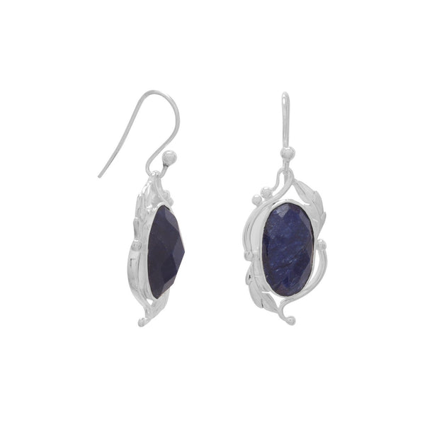 Sterling Silver Dyed Blue Corundum Leaf Design Earrings - deelytes-com