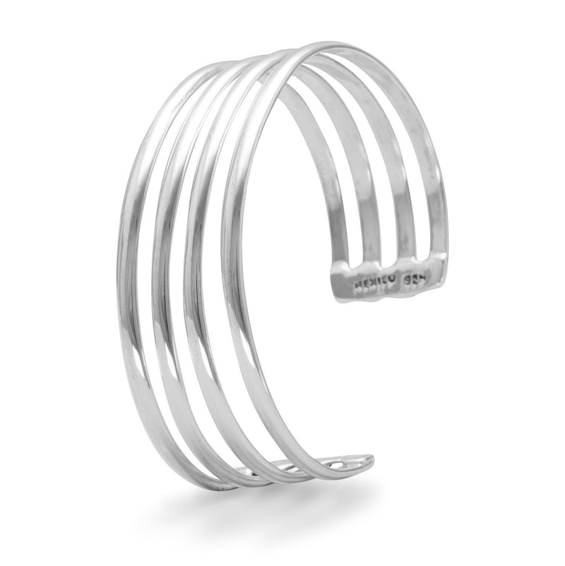 4 Row Polished Sterling Silver Cuff Bracelet - deelytes-com