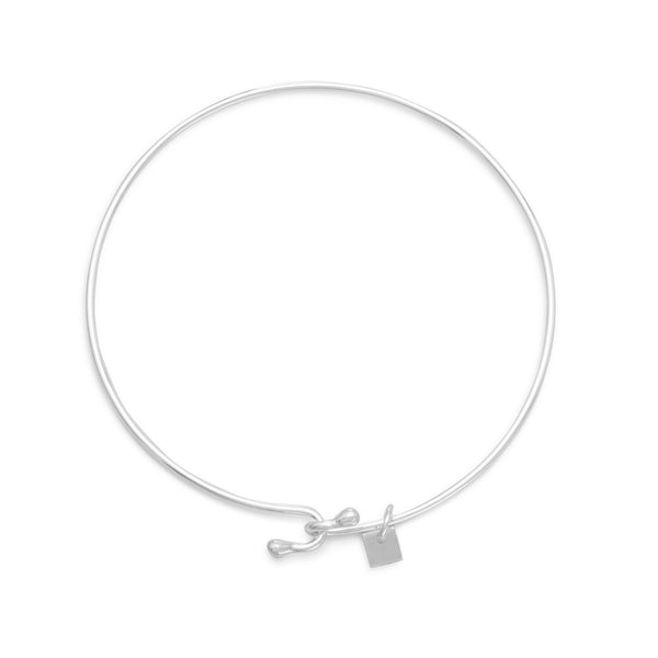Sterling Silver Wire Bangle with Bead Ends - deelytes-com