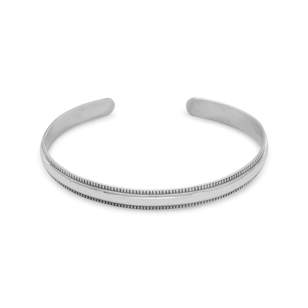 Polished Sterling Silver with Beaded Edge Cuff Bracelet - deelytes-com