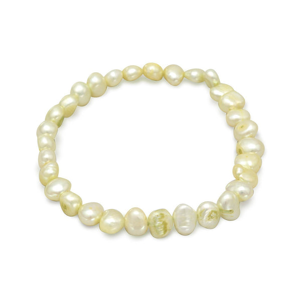 Lime Green Cultured Freshwater Pearl Stretch Bracelet - deelytes-com