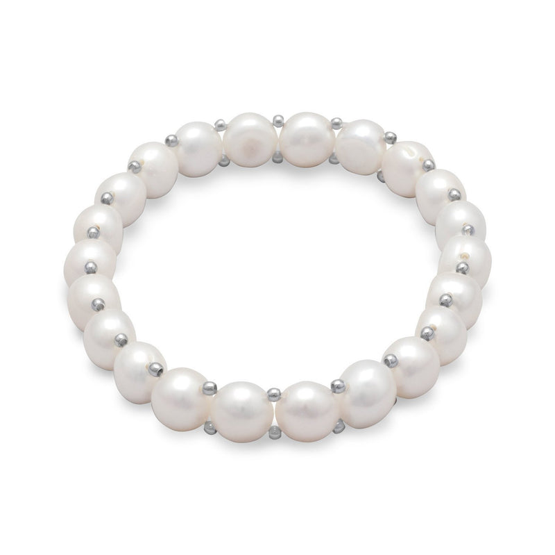Cultured Freshwater Button Pearl Stretch Bracelet - deelytes-com