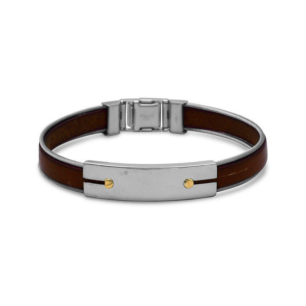 Stainless Steel and Leather Men's Bracelet with 18 Karat Gold Accents - deelytes-com