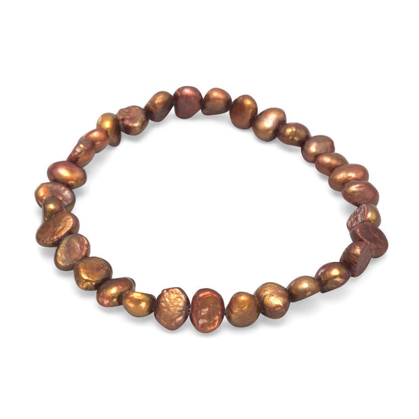 Brown Cultured Freshwater Pearl Stretch Bracelet - deelytes-com