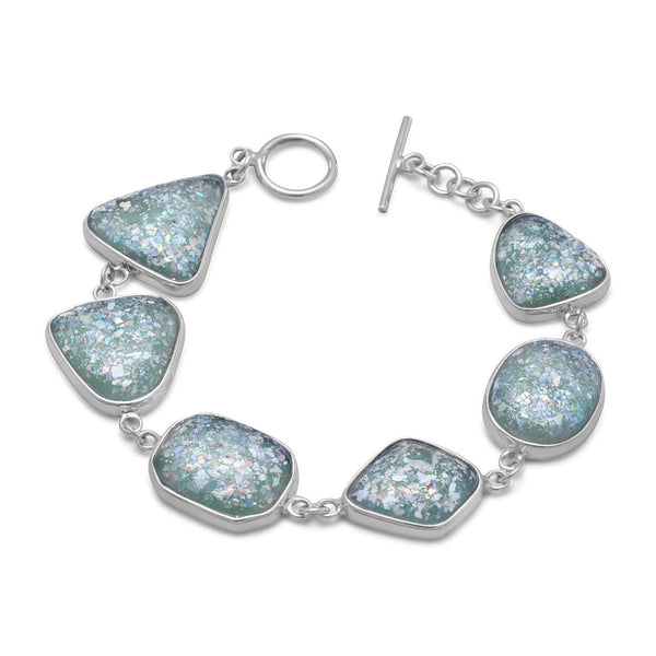 Roman Glass Toggle Sterling Silver Bracelet - deelytes-com