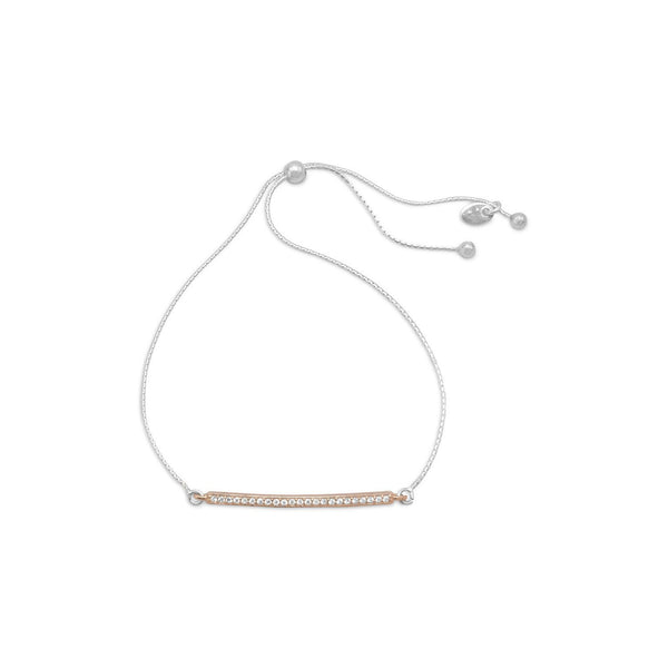 Two Tone CZ Bar Friendship Bolo Bracelet - deelytes-com
