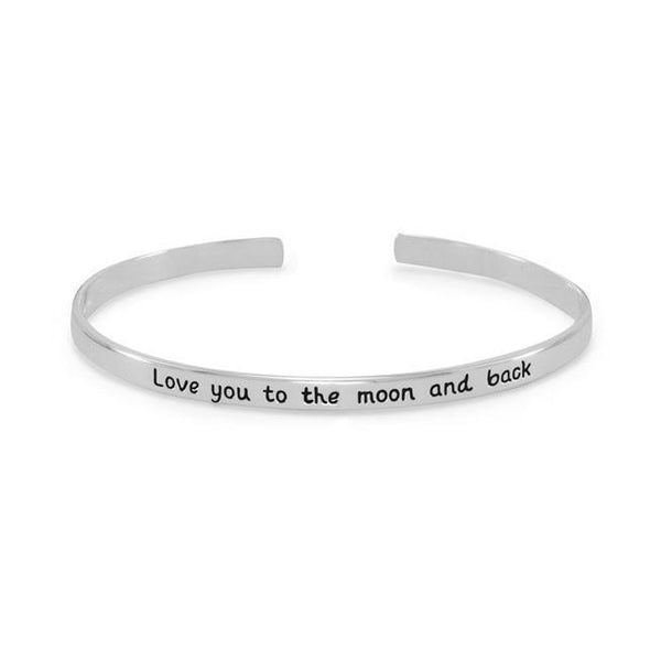"""Love you to the moon and back"" Cuff Sterling Silver Bracelet - deelytes-com"