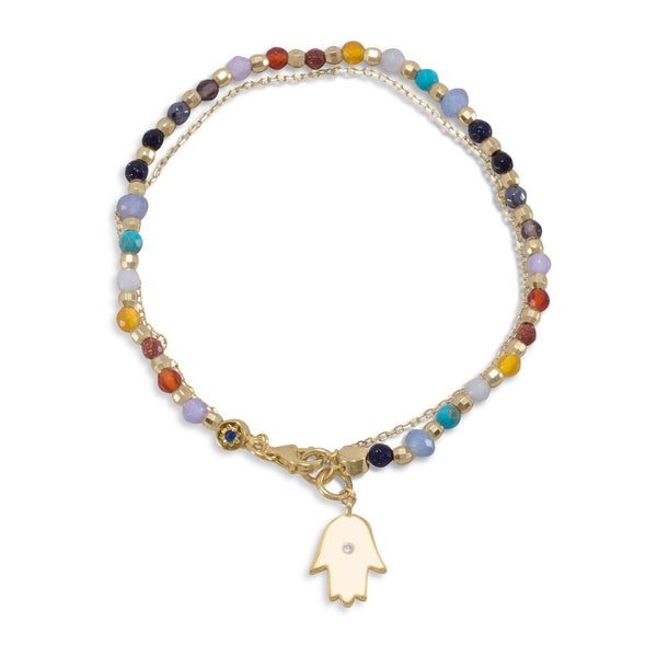 Double Strand Gold Multi-Gemstone Bracelet with Hamsa Charm - deelytes-com