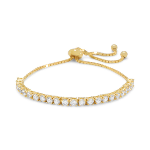 Adjustable 14 Karat Gold CZ Friendship Bolo Bracelet - deelytes-com