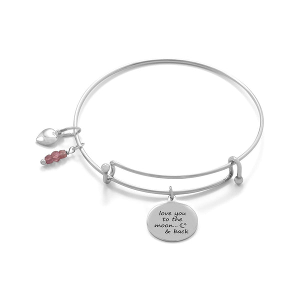 """Love You To The Moon And Back"" Sterling Silver Bangle - deelytes-com"