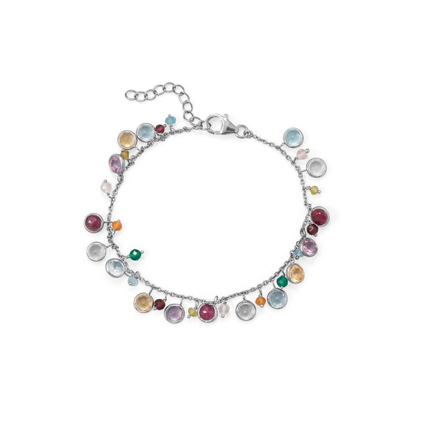Sterling Silver Multistone Adjustable Beaded Charm Bracelet Bracelets