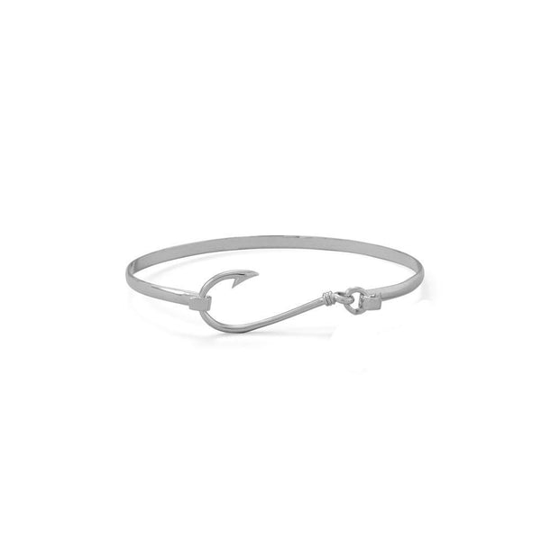 Rhodium Plated Sterling Silver Fishhook Bangle