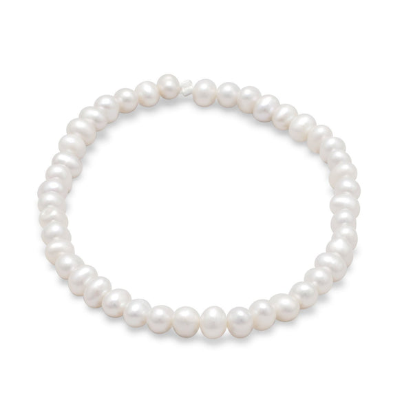 White Cultured Freshwater Pearl Stretch Bracelet - deelytes-com