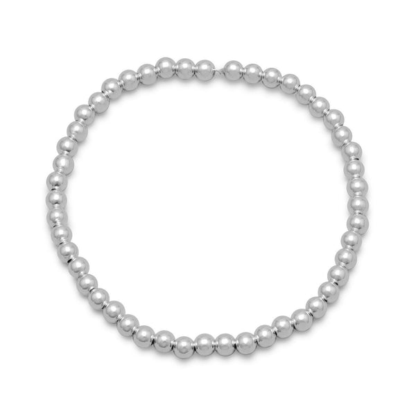 "7"" 4mm Sterling Silver Bead Stretch Bracelet - deelytes-com"