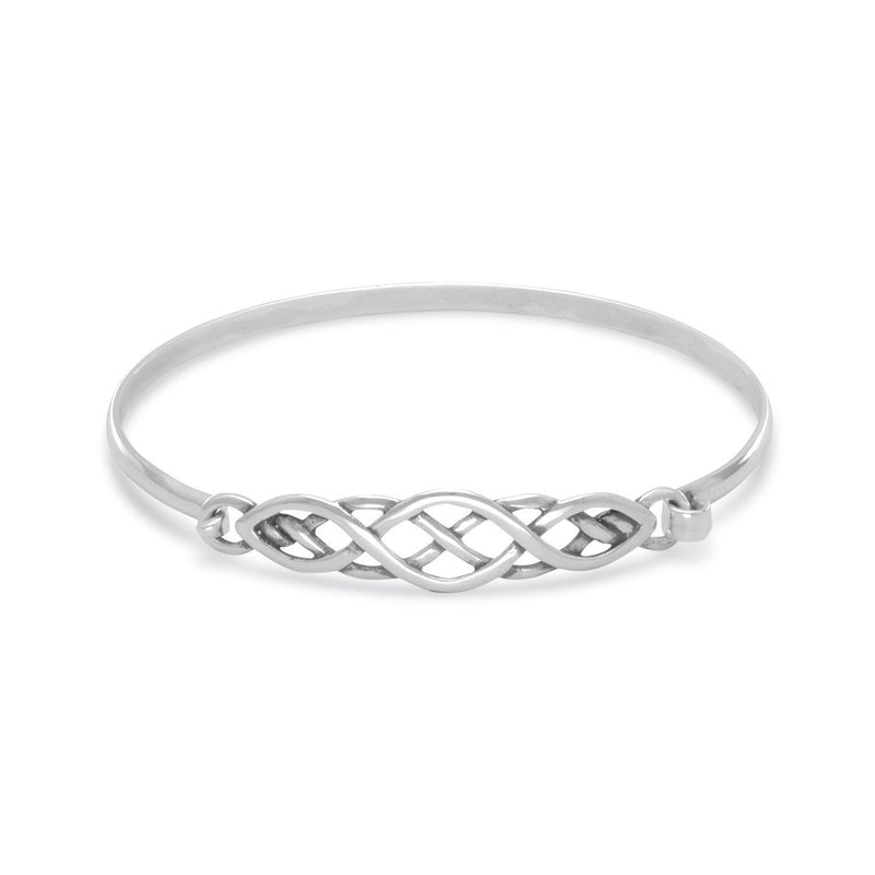 Celtic Style Sterling Silver Bangle Bracelet - deelytes-com