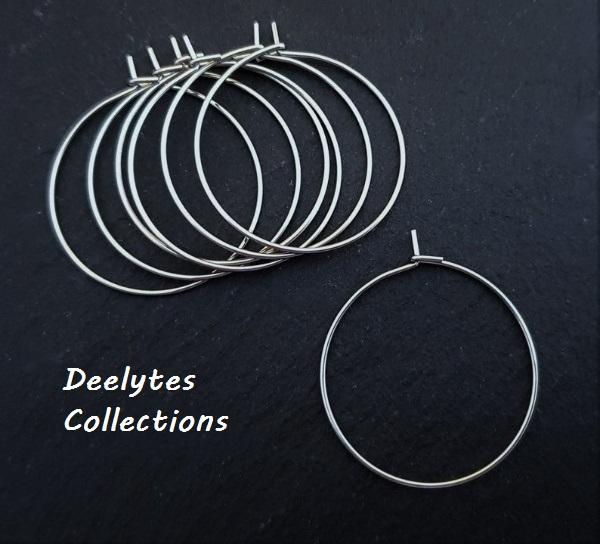 25  Silver Plated Brass Lead-safe 20,25,30,35mm Earwire Hoops ~ Wine Charm Rings - deelytes-com