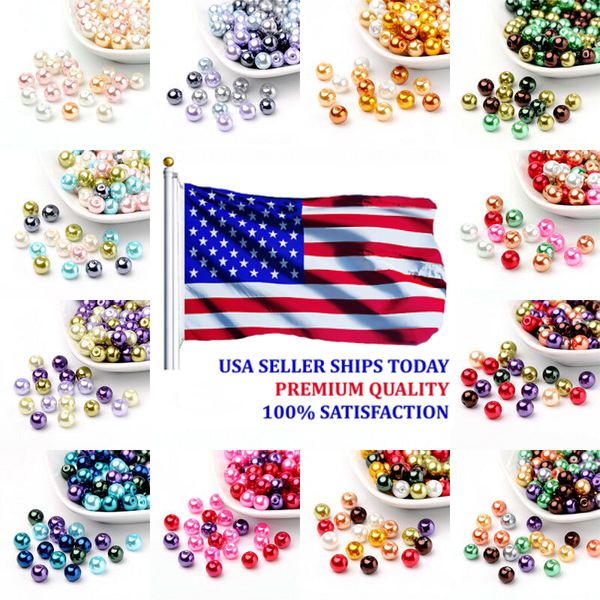 400pc Bag 4mm Mixed Color Pearlized Glass Beads Pearl Beads - deelytes-com