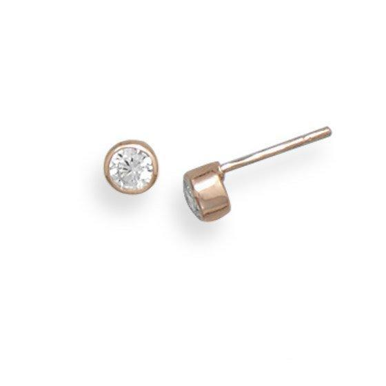 14 Karat Rose Gold Stud Earrings with Bezel Set CZs - deelytes-com