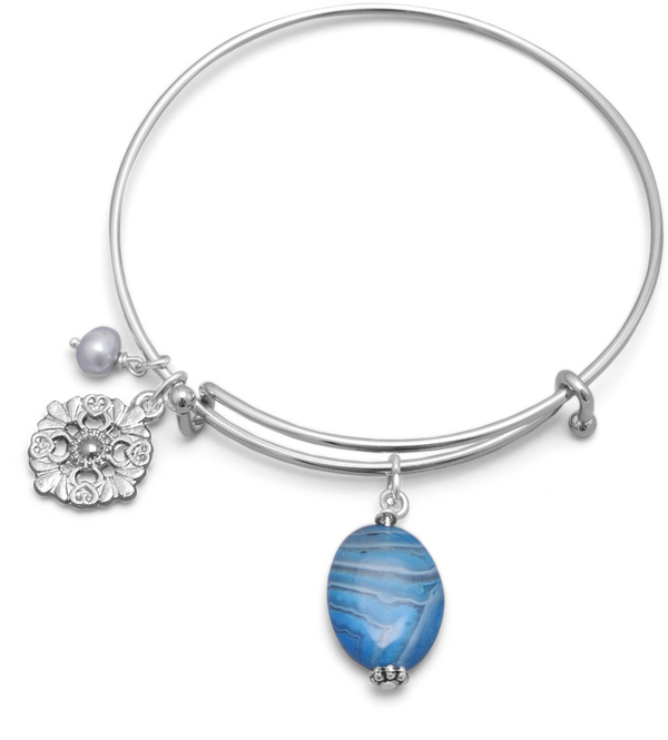 Expandable Blue Agate Fashion Bangle Bracelet - deelytes-com