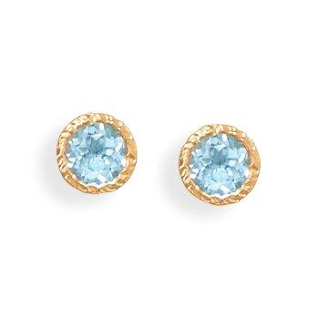 Gold Blue Topaz Gemstone Stud Earrings - deelytes-com