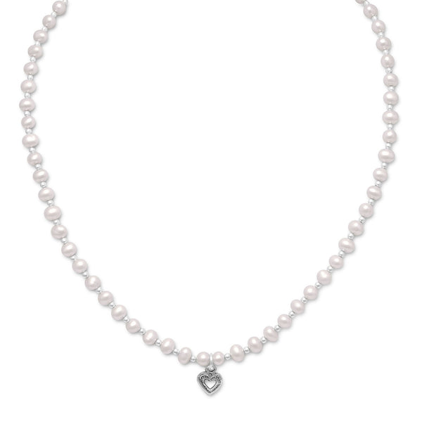 Cultured Freshwater Pearl/Sterling Silver Bead Necklace with Heart - deelytes-com