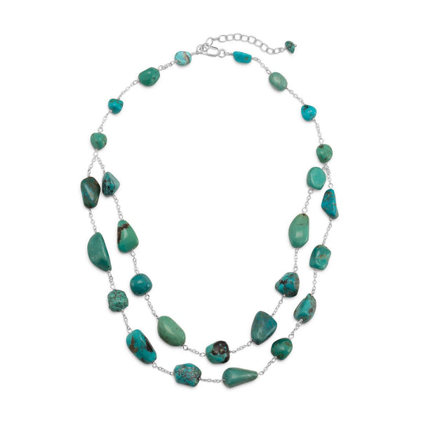 Double Strand Turquoise Nugget Sterling Silver Necklace - deelytes-com