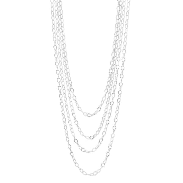 "100"" Open Link Sterling Silver Cable Necklace - deelytes-com"