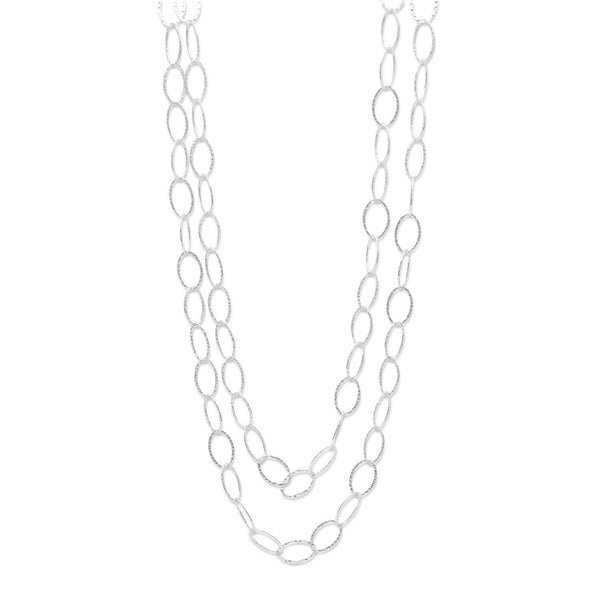 Hammered  Sterling Silver Oval Link Necklace - deelytes-com