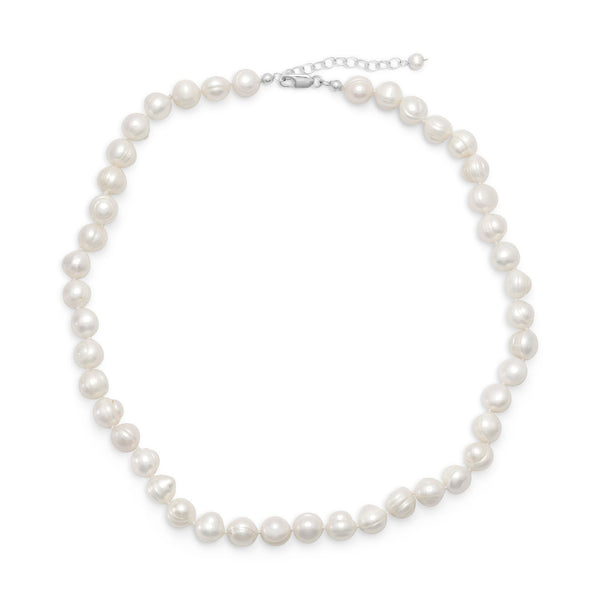 "18""+2"" White Cultured Freshwater Pearl Sterling Silver Necklace - deelytes-com"