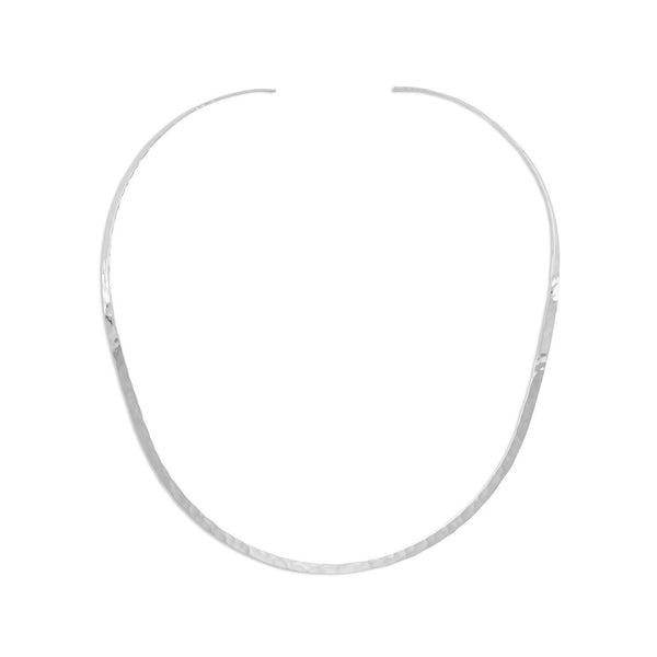 Hammered Sterling Silver Open Back Collar Necklace - deelytes-com