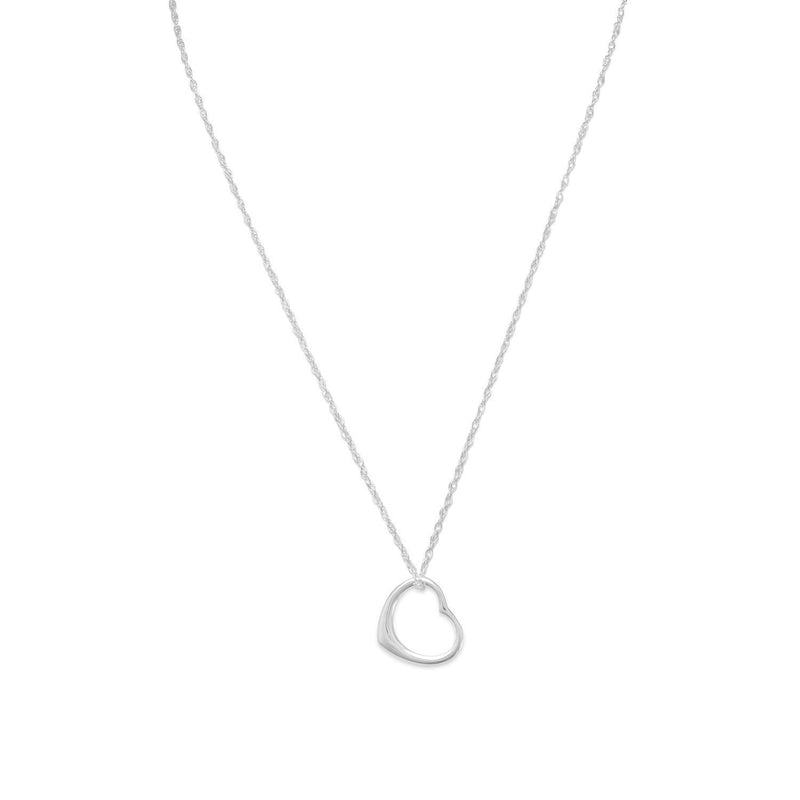 Sterling Silver Floating Heart Pendant and Necklace - deelytes-com