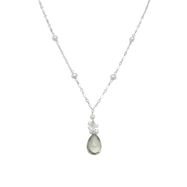 Prasiolite and Cultured Freshwater Pearl Sterling Silver Necklace - deelytes-com