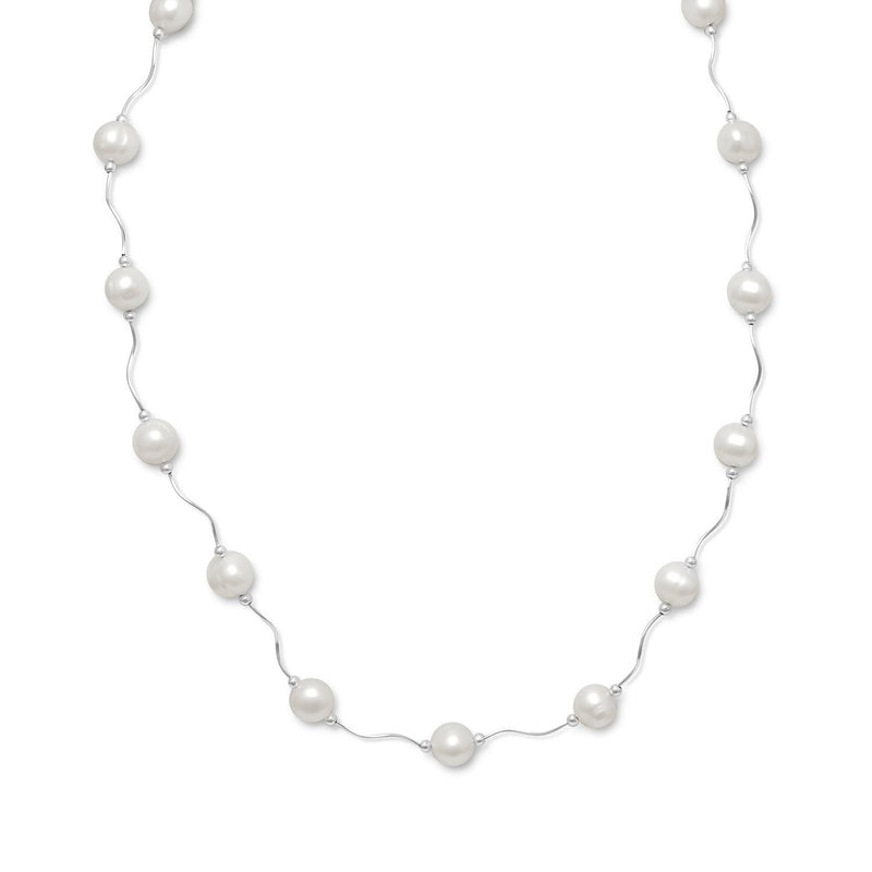 Wave Design Necklace with Cultured Freshwater Pearls Sterling Silver - deelytes-com