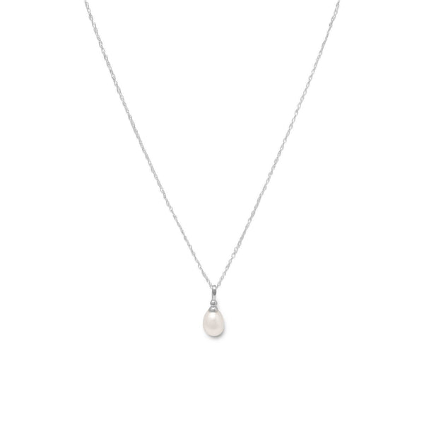 Cultured Freshwater Pearl Drop Sterling Silver Necklace - deelytes-com