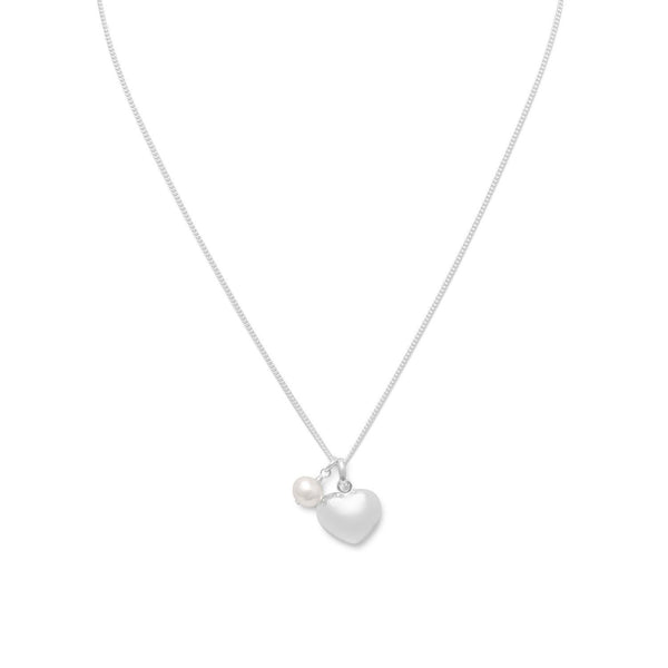 Sterling Silver Heart & Cultured Freshwater Pearl Charm Necklace - deelytes-com