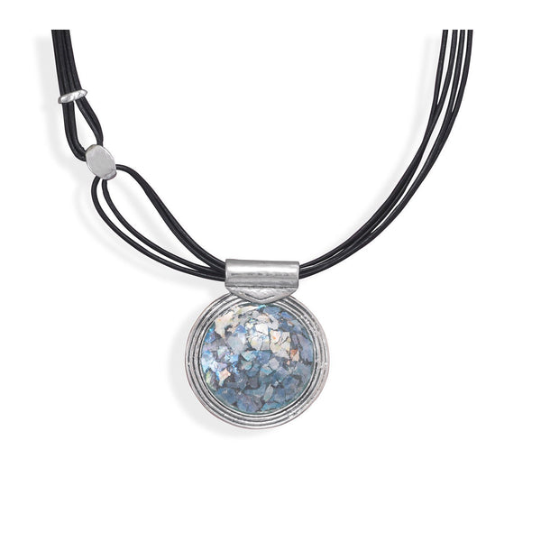 Multi-Strand Leather with Sterling Silver Roman Glass Pendant Necklace - deelytes-com