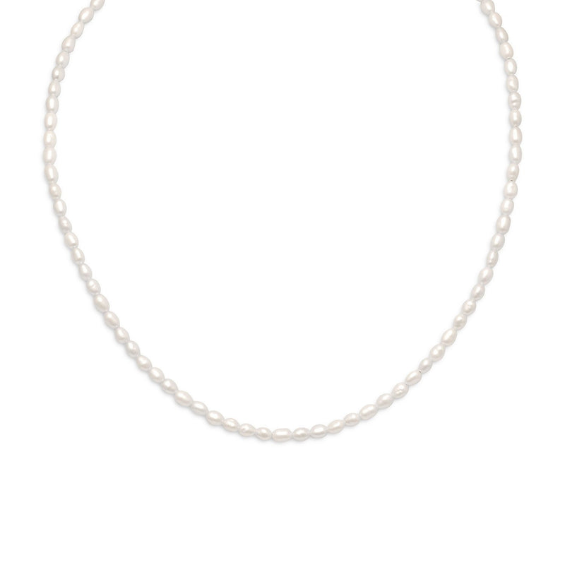 Gold & Cultured Freshwater Rice Pearl Necklace - deelytes-com