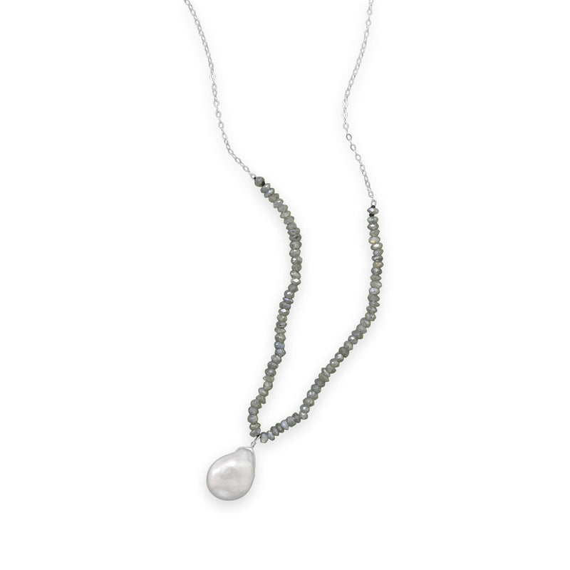 Labradorite and Baroque Pearl Drop Necklace Sterling Silver - deelytes-com