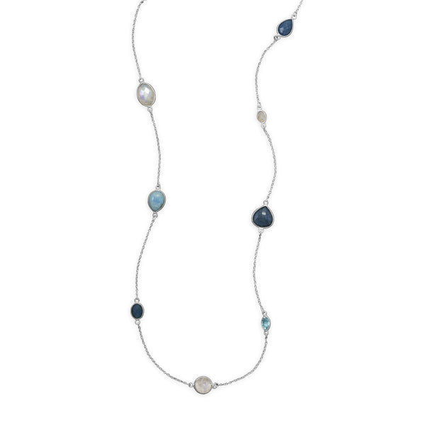 Multi-Gemstone Larimar, Blue Topaz, Aventurine, Moonstone Sterling Silver Endless Necklace - deelytes-com