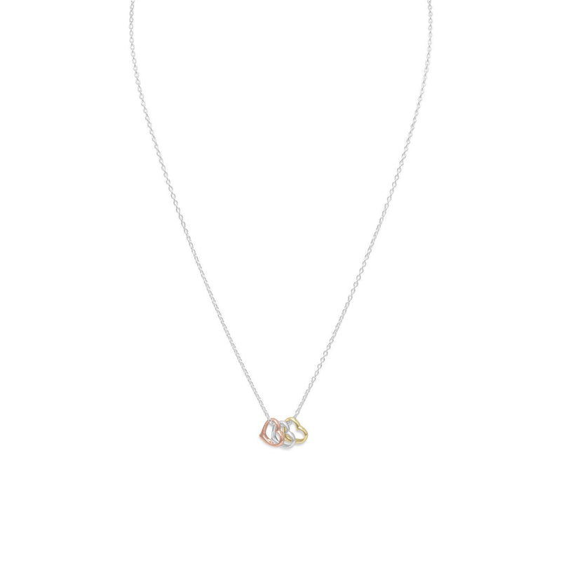 Tri Tone Heart Necklace Sterling Silver, Yellow Gold & Rose Gold - deelytes-com