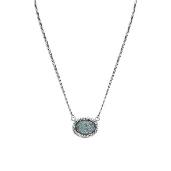 Oval Roman Glass Sterling Silver Necklace - deelytes-com