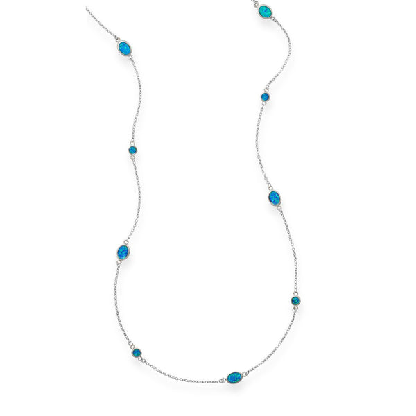 Multi-Shape Blue Opal Sterling Silver Necklace - deelytes-com
