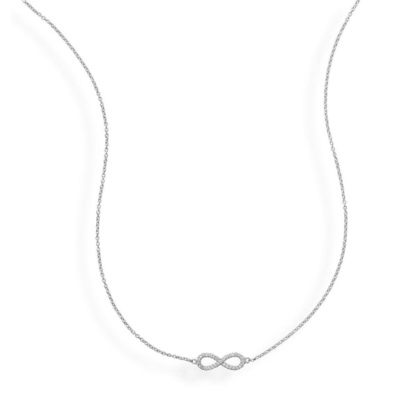 CZ Infinity Sterling Silver Necklace - deelytes-com