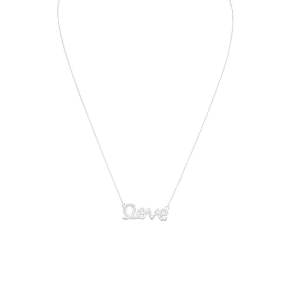 "Sterling Silver CZ ""love"" Necklace - deelytes-com"