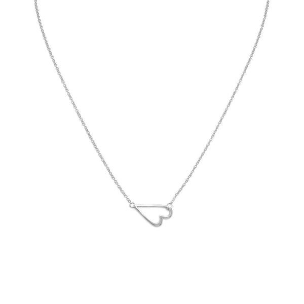 Sideways Heart Sterling Silver Necklace - deelytes-com