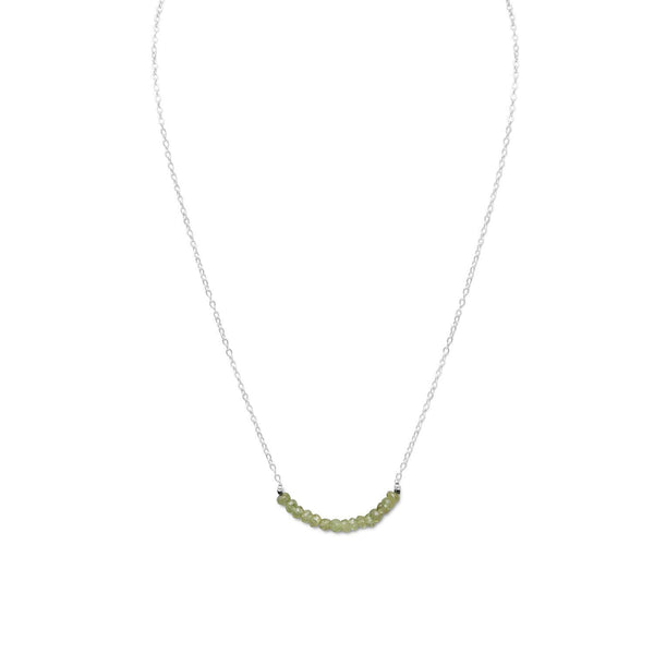 Faceted Peridot Bead Necklace Sterling Silver - August Birthstone - deelytes-com