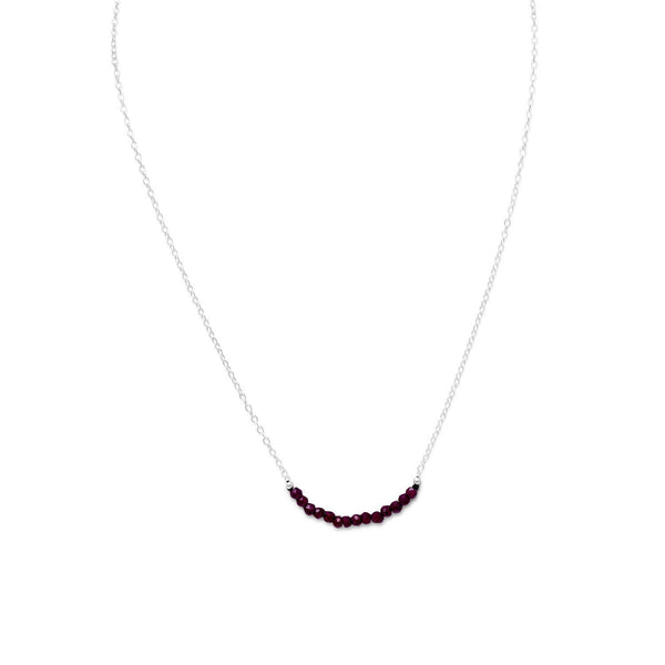 Faceted Garnet Bead Necklace Sterling Silver - January Birthstone - deelytes-com