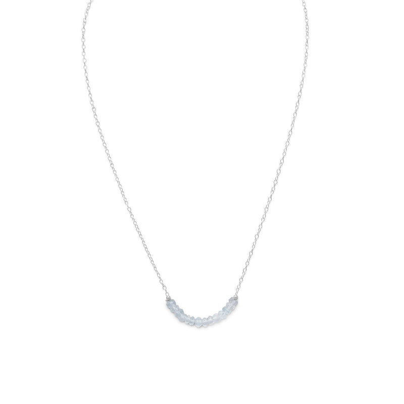 Faceted Aquamarine Bead Necklace Sterling Silver - March Birthstone - deelytes-com