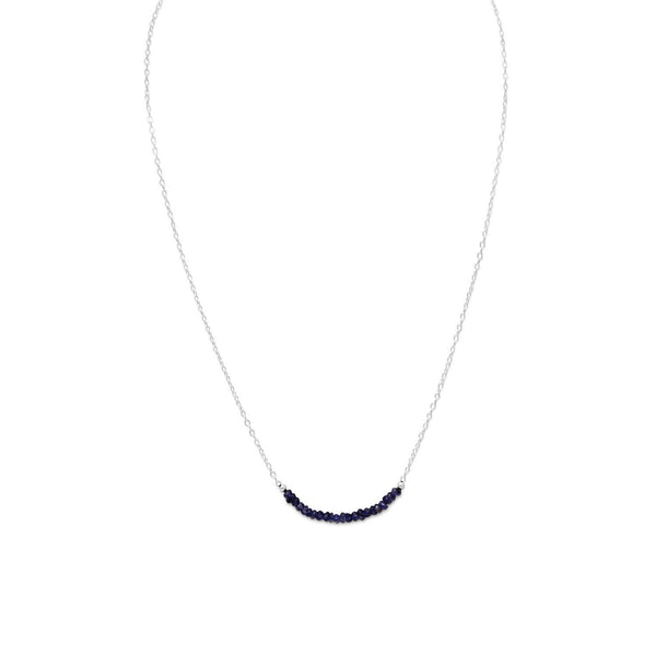 Faceted Iolite Bead Necklace - September Birthstone Sterling Silver - deelytes-com