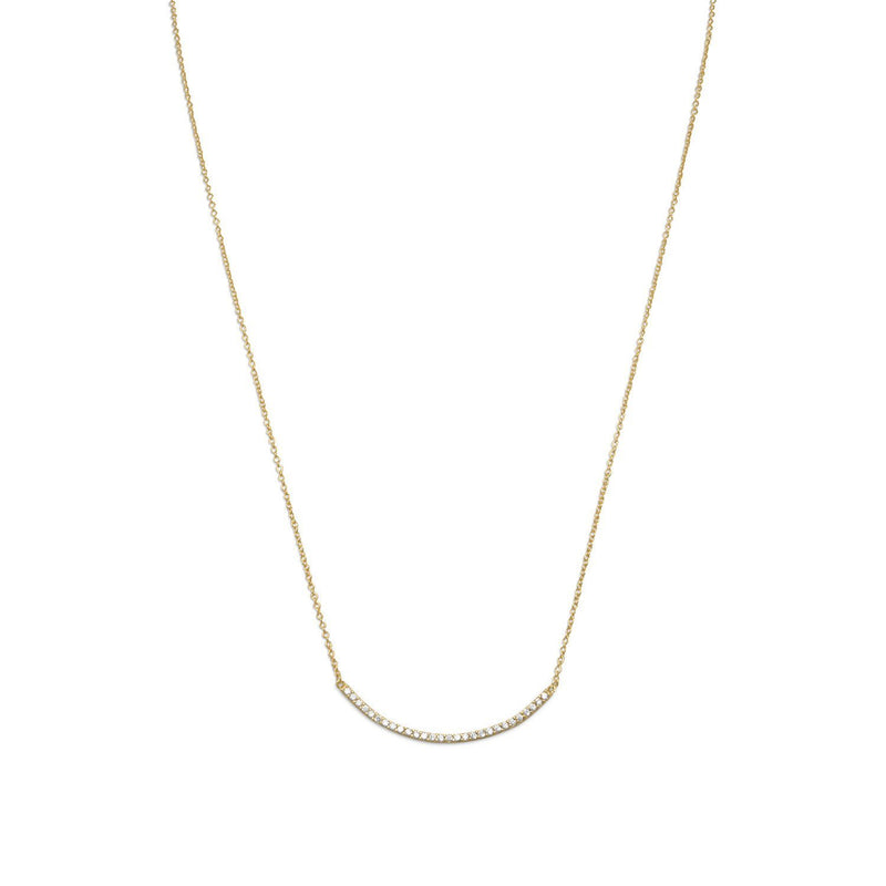Gold Curved CZ Bar Necklace - deelytes-com